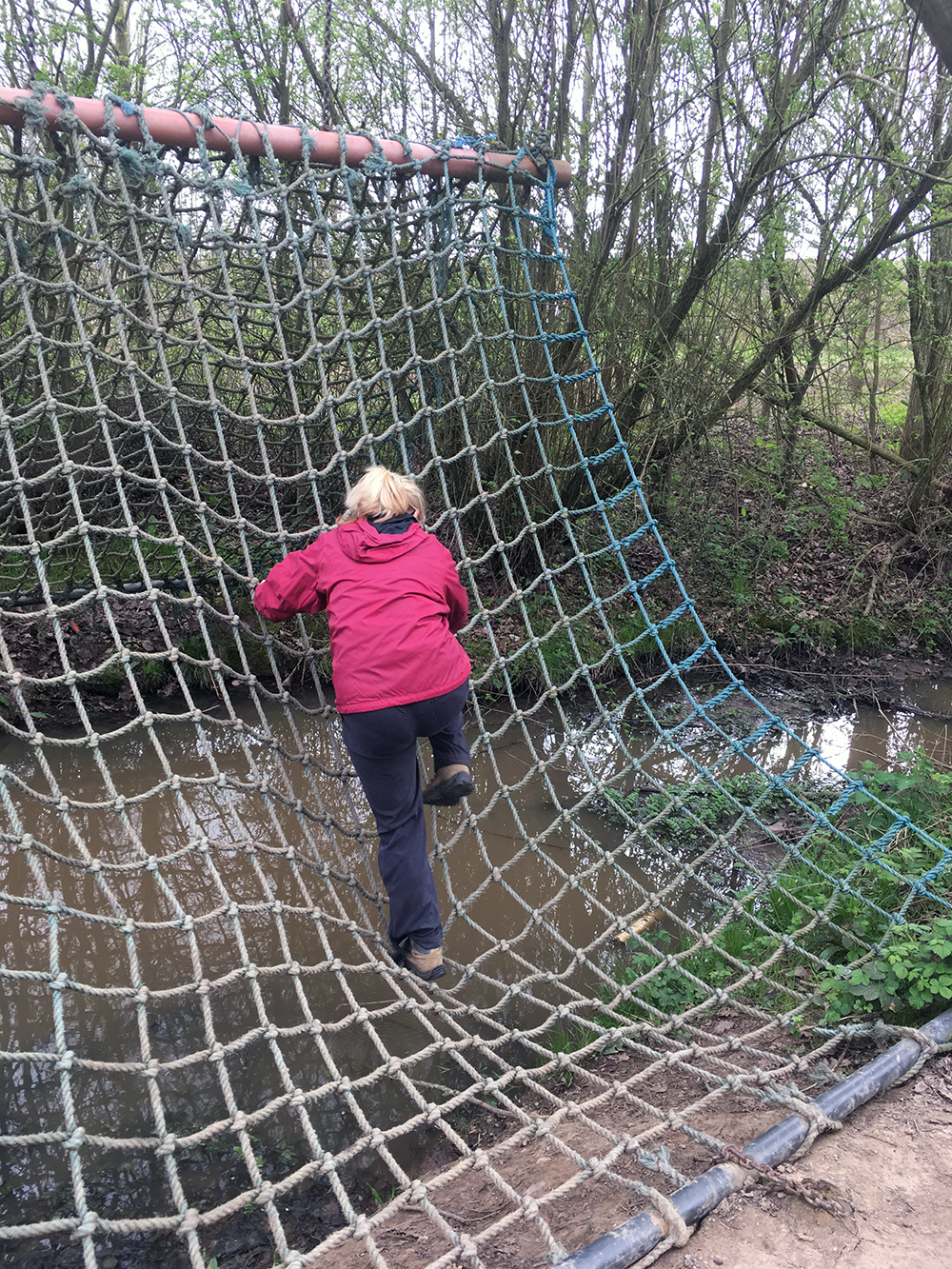 Climbing a net on a Mals day out